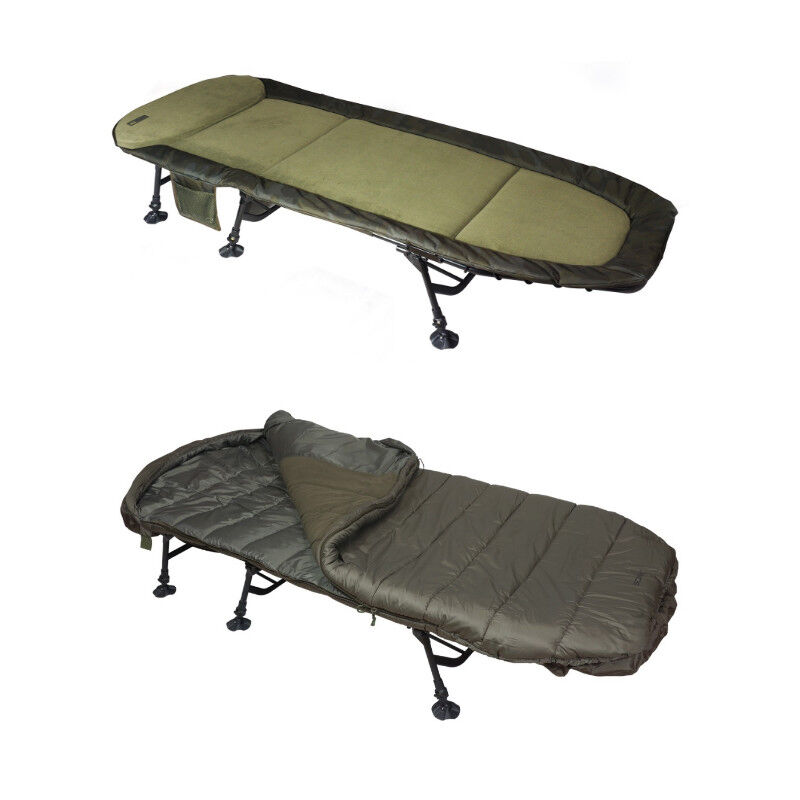 Sonik SK-Tek Compact Levelbed and Sleeping Bag Combo Level Bed Bedchair NEW