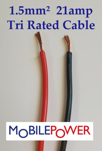 1.5mm² Tri Rated Panel Auto Camper Cable 21a 12v 240v  Red or Black By the Metre