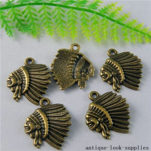 Vintage Bronze Alloy Caciques Heads Pendant Charms Crafts Findings 20pcs 50799