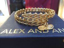 RRP £60 Alex and Ani Gypsy 66 Wrap Gold Bangle VW235YG