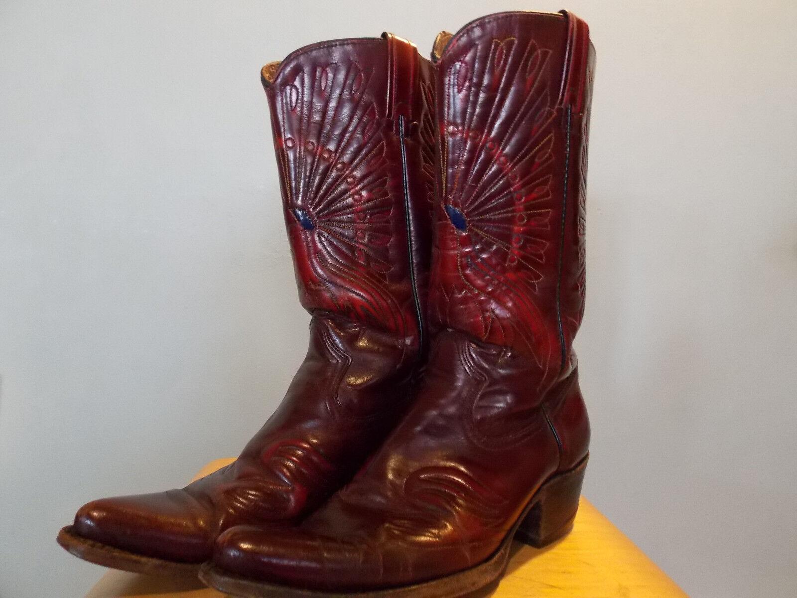 Vintage Sear Burgundy braun Leather Western Cowboy Stiefel 8 D