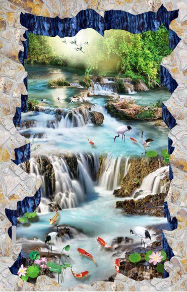 3D Flor Peces Piedra Papel Pintado Mural Parojo Impresión De Piso 617 Calcomanía 5D AJ Wallpaper