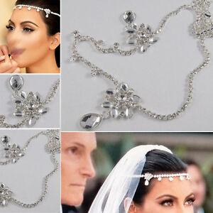 Flower Crystal Head Chain Hair Band Forehead Bridal Piece Tiara