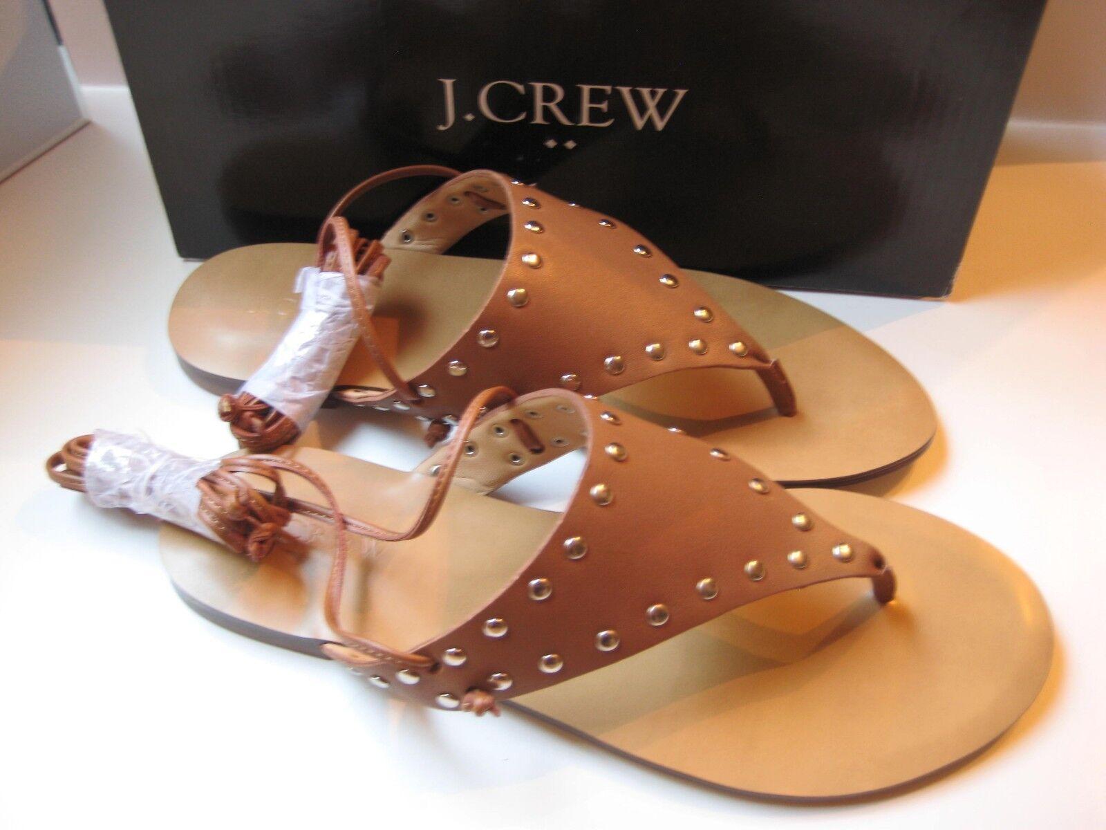 NEW IN BOX J Crew Ankle-Tie Wrap Thong Sandale Studded Leder  PECAN  Größe 7