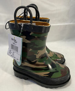 Western Chief Boys Waterproof Printed Rain Boot with Easy Pull, Camo, Size 7
