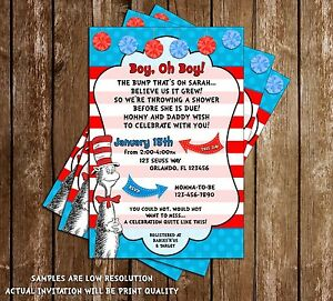 Dr Seuss Cat In The Hat Baby Shower 15 Printed Invitations W