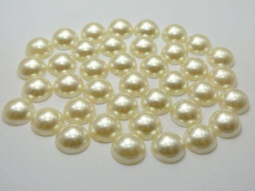 100 Ivory Acrylic FlatBack Half Pearl Bead 12mm Flat Back Scrapbook Craft