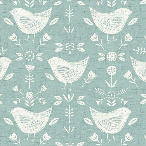 Narvik Seafoam Duck Egg Scandi Birds 100/% Cotton Curtain and Upholstery Fabric