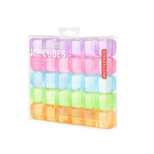 Kikkerland Reusable Square Multi-Color Ice Cubes Set of 30