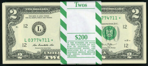 SAN FRANCISCO 2013 $2 CRISP UNCIRCULATED STAR NOTE FROM CONSECUTIVE PACK