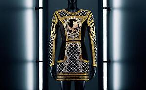 BNWT-BALMAIN-x-H-amp-M-Black-Gold-Velvet-Embroidered-Beads-Eagle-Dress-EUR-40-US-10