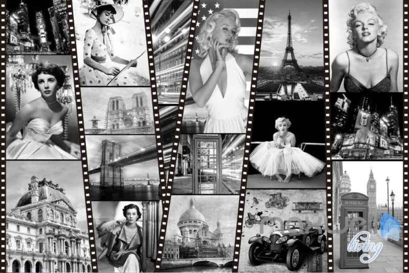 3D Retro Classic Film Paris Tower Wall Paper Mural Theatre Decals Art Print