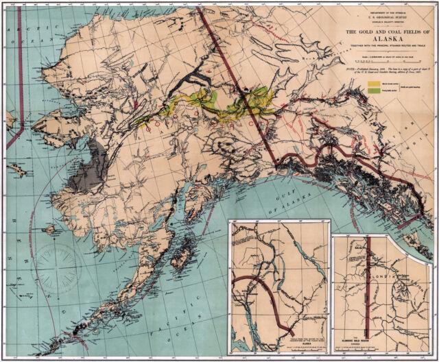 1898 Alaska Geo Survey Map Gold Rush Mining Fields Mines Yukon Klondike  Poster