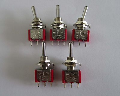 5x SPDT 3 Way ON OFF ON Guitar Mini Toggle Switch SALECOM UL Car/Boat Switches