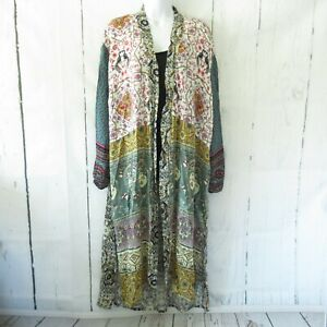 New-Gigio-By-Umgee-Duster-Maxi-Kimono-L-Large-Mixed-Print-Floral-Boho-Peasant