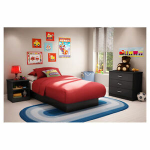 Details about Black 3 Piece Twin Bed Bedroom Collection Furniture Set Home  Living Headboard