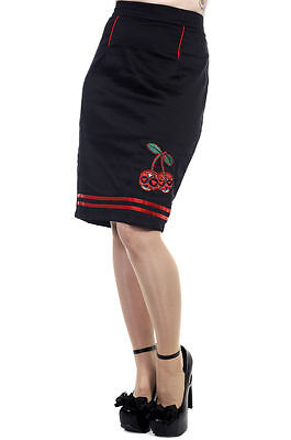 Black Rockabilly Knee Length Pencil Skirt Candy Skull Vintage Size 8 10 12 Retro