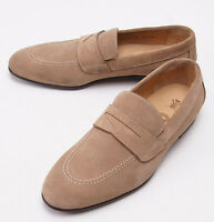 $950 Sutor Mantellassi Beige Calf Suede Penny Loafers Us 7 Dress Shoes on sale