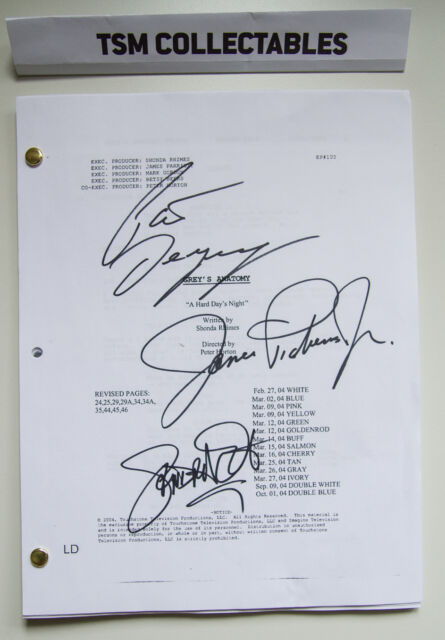 6a194161446 Grey's Anatomy Autographed Script Patrick Dempsey James Pickens Sandra Oh  Signed for sale online | eBay
