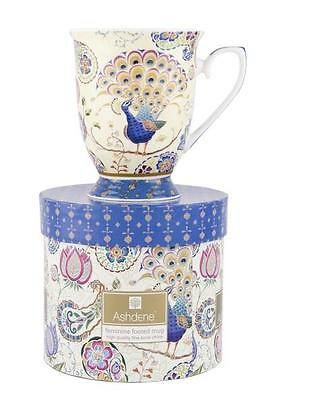 Peacock Fantasy Blue Paisley Ashdene Bone China Footed Mug Gift Boxed