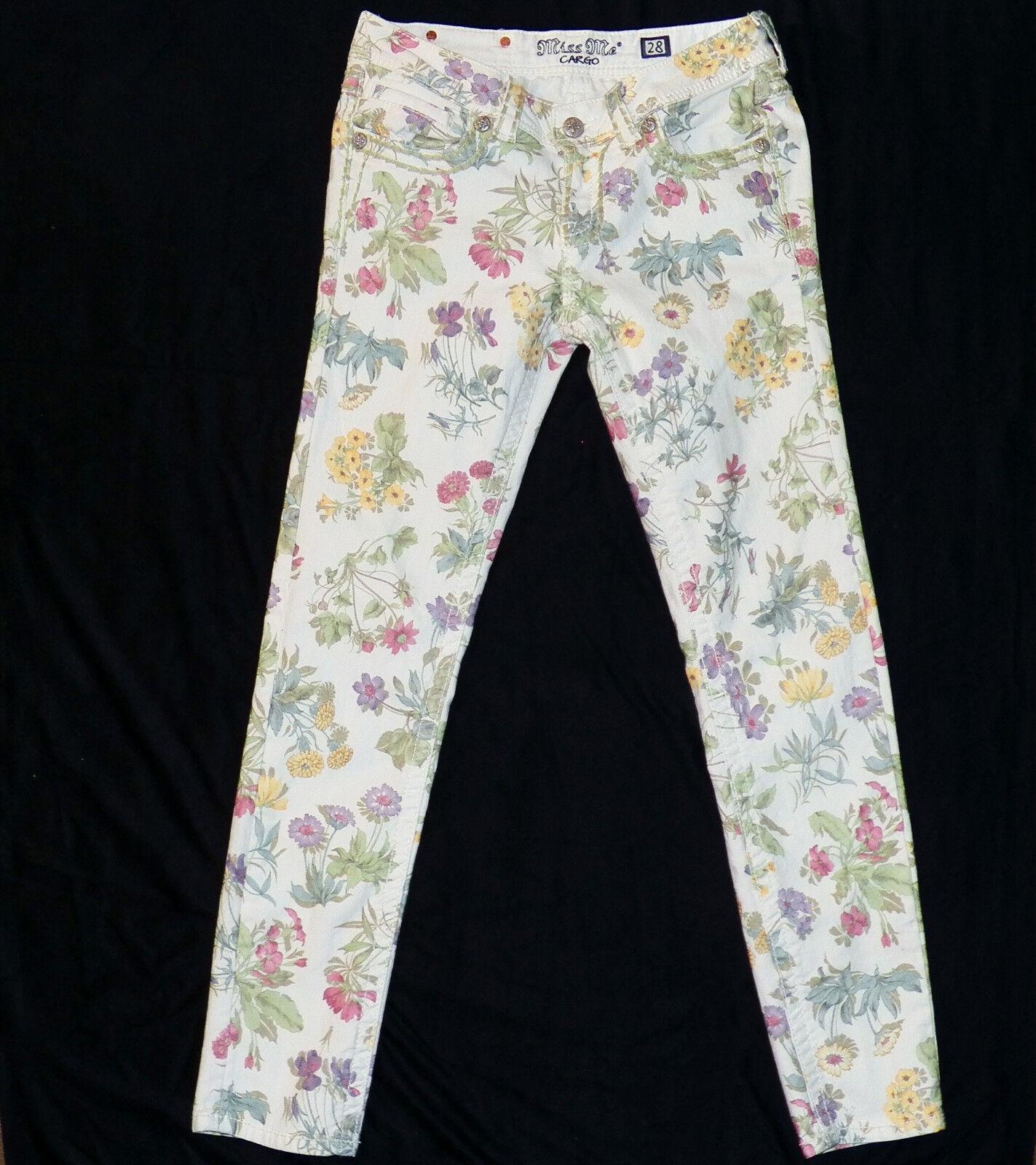 Miss Me Stampa Botanico Stampa Me Floreale Avorio Denim Skinny Jeans Cargo  CP4025AK1 28 x 058375 27d02ffa9ef8