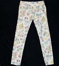 Miss Me Botanical Floral Print Ivory Denim Skinny Cargo Jeans CP4025AK1 28 x 29