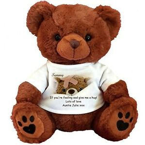 PERSONALISED BROWN TEDDY BEAR 25CM SITTING Get well  hug me poorly hospital