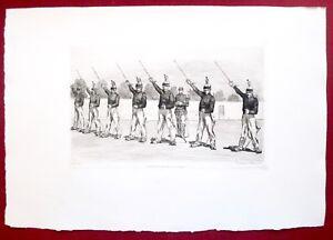 Eau-forte-originale-Peloton-de-punition-9e-cuirassiers-Lancon-Cadart-XIXe