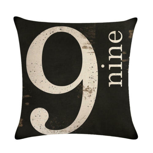 "18/"" Number Pattern Cotton Linen Cushion Cover Pillow case Home Decor"