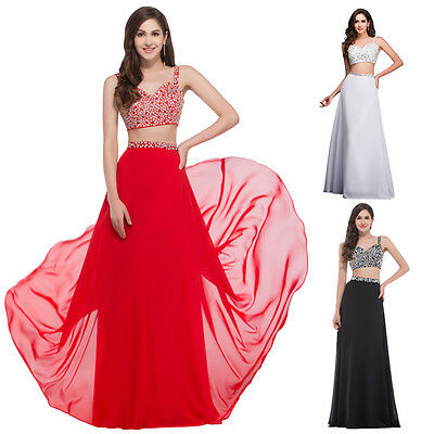 2-Piece SET SEXY Long GRADUATION Evening Party Dress Prom Formal Gown Bridesmaid