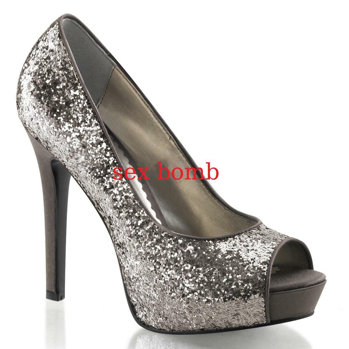 SEXY scarpe decolte spuntate GLITTER da plateau nascosto tacco 12 da GLITTER 35 a 41 GLAM! 2733ce