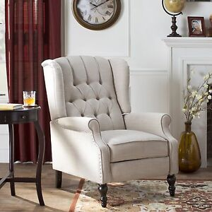 Wing Chair Recliner Button Tufted Fabric Living Room Furniture Club ...