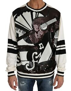 NEW-DOLCE-amp-GABBANA-Sweater-Jazz-Sequined-Guitar-Pullover-Top-S-IT46-S