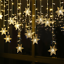 miniature 20 - 96LED Icicle Hanging Snowflake Curtain String Lights Fairy Christmas Party Decor
