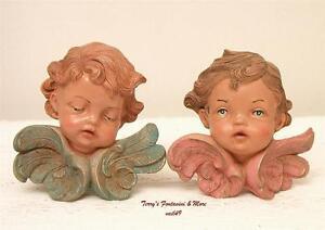 fontanini depose italy 4 cherub wall decor angel faces wood tone