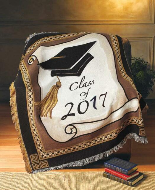 "50""X60"" CLASS OF 2017 GRADUATION GIFT WOVEN JACQUARD THROW BLANKET"