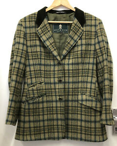 Austin Reed Green Check Wool Lined Jacket Blazer 12 Ebay