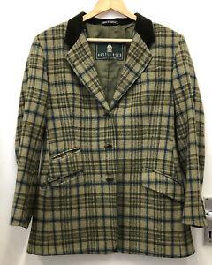 Austin Reed Green Check Wool Lined Jacket Blazer 12 Ebay