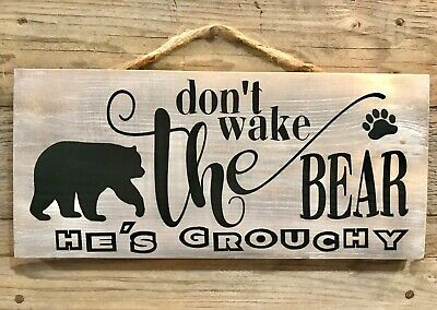 T Wake The Bear Handmade Rustic Wood