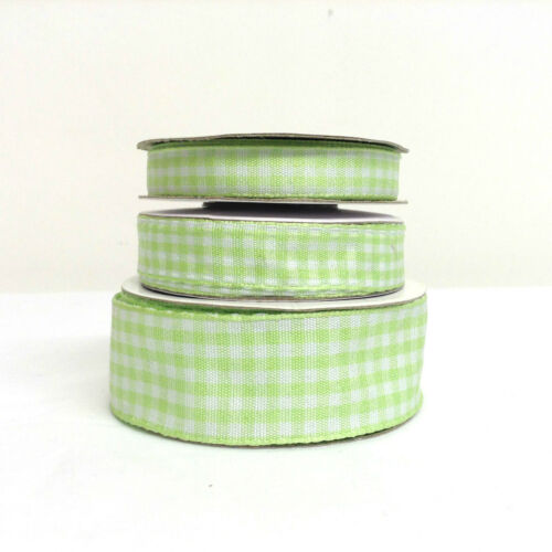 15mm 10mm 26mm Widths 10 Metre Reel Gingham Ribbon Check Woven Two Sided