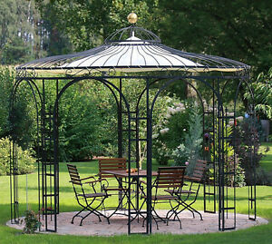 gartenpavillon metall eisenpavillon pavillon schmiedeeisen rankpavillon ebay. Black Bedroom Furniture Sets. Home Design Ideas