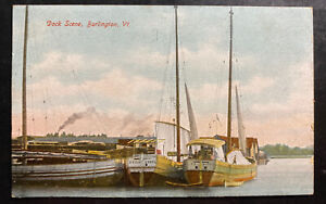 1907 Burlington VT USA Color Picture Postcard Cover Dock Scene