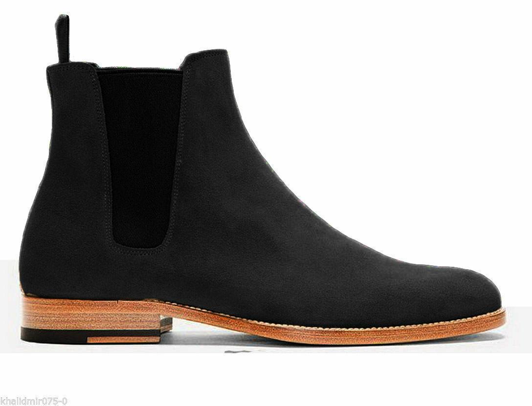 botas para hombre hecho a mano de cuero Negro Chelsea Suela formal Vestido Informal Zapatos De Gamuza