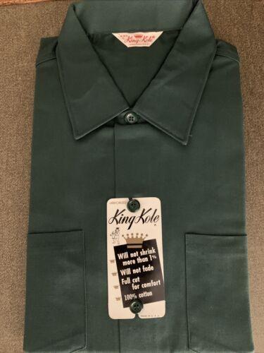 King Kole Dark Green Cotton Work Shirt Short Sleev