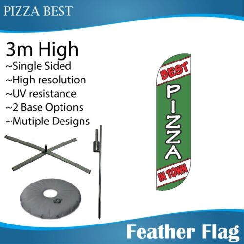 3m Outdoor PIZZA BEST Feather Banners Feather Flag with Base