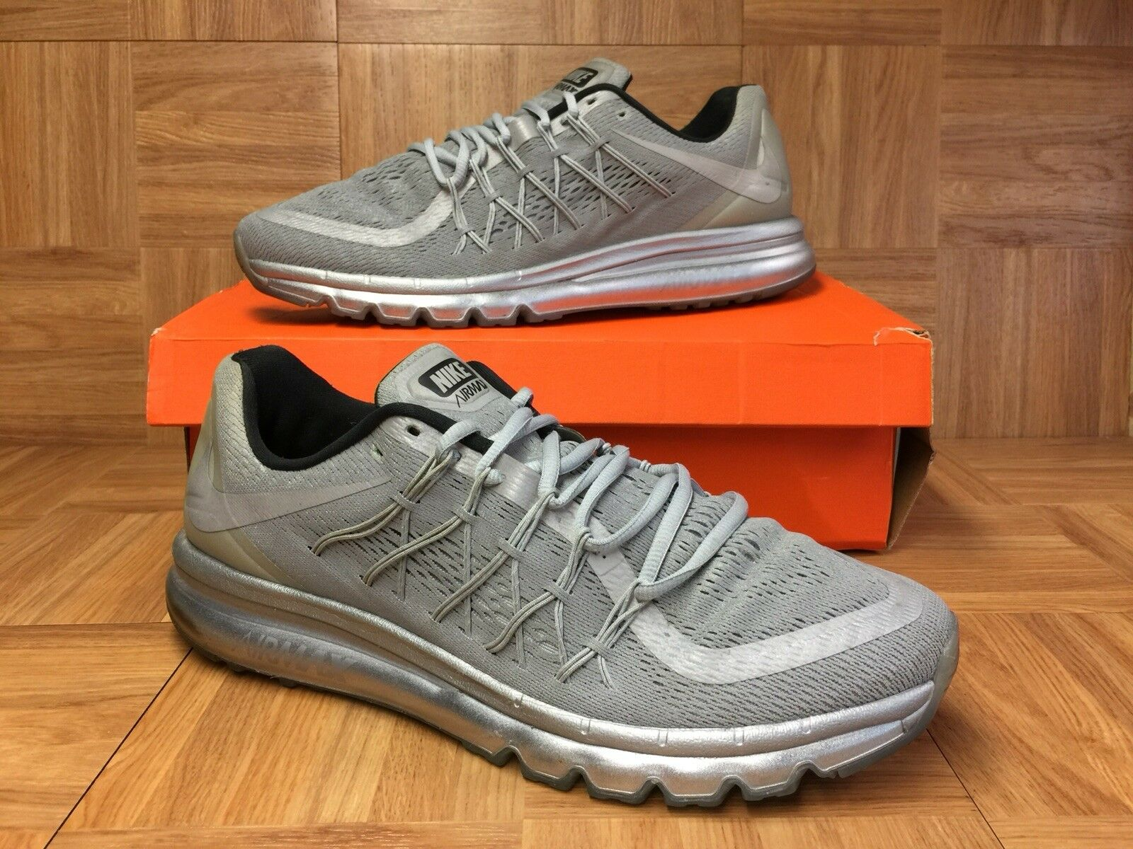 RARE Nike Air Max 2015 Reflective Silver Reflect Moon Suit Sz 14 709013-001