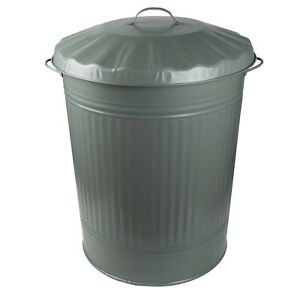 anthrazit stabil vintage Abfalleimer Müllbehälter HRB Mülleimer 84 Liter Zink