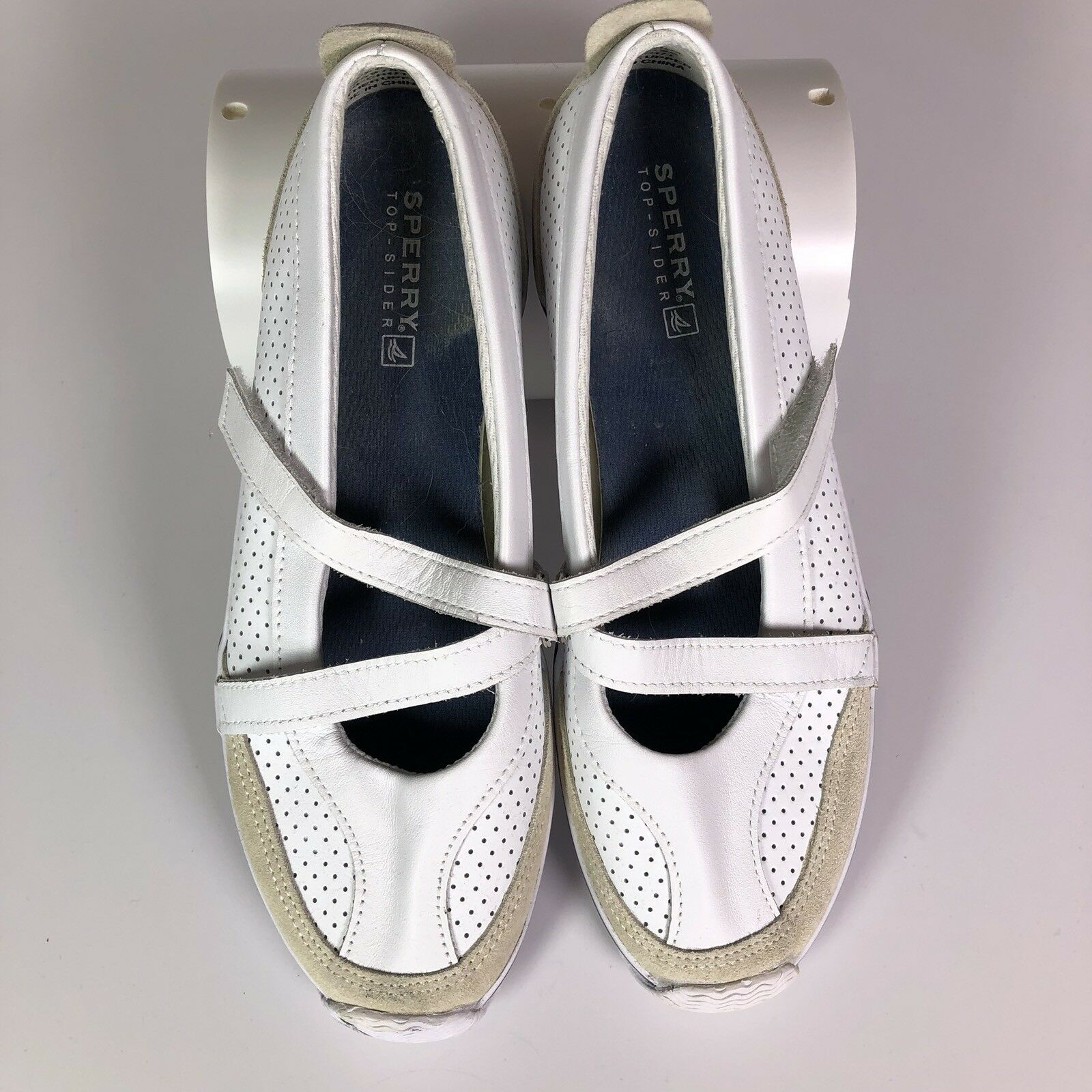 Women's Sperry A8-CH171 White Leather Z Strap Sneakers shoes Size 8.5