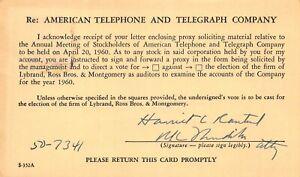 AMERICAN-TELEPHONE-TELEGRAPH-at-amp-t-ASSEMBLEE-GENERALE-ANNUELLE-des-actionnaires-1960-postcard