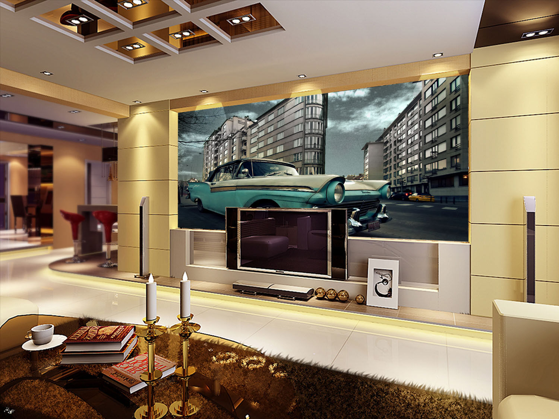 3D Car Buildings 9037 Wall Paper Wall Print Decal Wall Deco Wall Indoor Murals